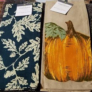 Threshold 2 fall lea pumpkin cotton kitchen towels